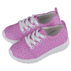 Brick2 White Marble & Pink Colored Pencil Kids  Lightweight Sports Shoes by trendistuff