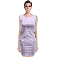 Brick1 White Marble & Pink Colored Pencil (r) Classic Sleeveless Midi Dress