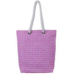 Brick1 White Marble & Pink Colored Pencilbrick1 White Marble & Pink Colored Pencil Full Print Rope Handle Tote (small) by trendistuff