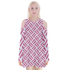 Woven2 White Marble & Pink Denim (r) Velvet Long Sleeve Shoulder Cutout Dress by trendistuff