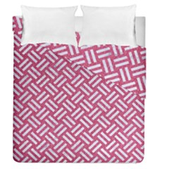 Woven2 White Marble & Pink Denim Duvet Cover Double Side (queen Size) by trendistuff
