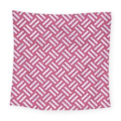 Woven2 White Marble & Pink Denim Square Tapestry (large) by trendistuff