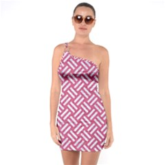 Woven2 White Marble & Pink Denim One Soulder Bodycon Dress by trendistuff
