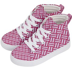 Woven2 White Marble & Pink Denim Kid s Hi Top Skate Sneakers by trendistuff