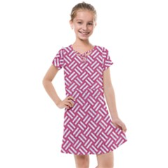 Woven2 White Marble & Pink Denim Kids  Cross Web Dress
