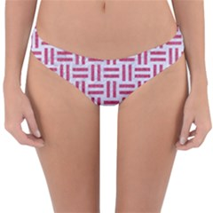 Woven1 White Marble & Pink Denim (r) Reversible Hipster Bikini Bottoms by trendistuff