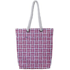 Woven1 White Marble & Pink Denim (r) Full Print Rope Handle Tote (small) by trendistuff