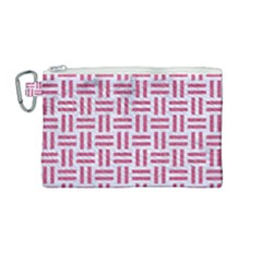 Woven1 White Marble & Pink Denim (r) Canvas Cosmetic Bag (medium) by trendistuff