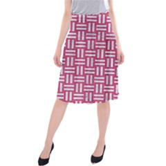 Woven1 White Marble & Pink Denim Midi Beach Skirt by trendistuff