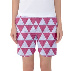 Triangle3 White Marble & Pink Denim Women s Basketball Shorts by trendistuff