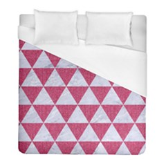 Triangle3 White Marble & Pink Denim Duvet Cover (full/ Double Size) by trendistuff