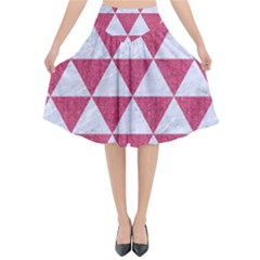 Triangle3 White Marble & Pink Denim Flared Midi Skirt by trendistuff