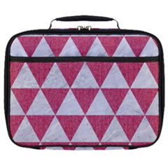 Triangle3 White Marble & Pink Denim Full Print Lunch Bag by trendistuff