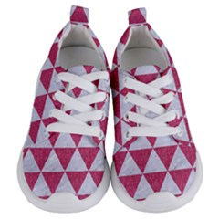 Triangle3 White Marble & Pink Denim Kids  Lightweight Sports Shoes
