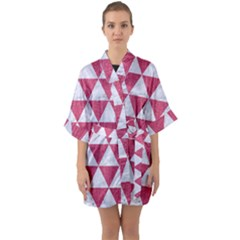 Triangle3 White Marble & Pink Denim Quarter Sleeve Kimono Robe by trendistuff