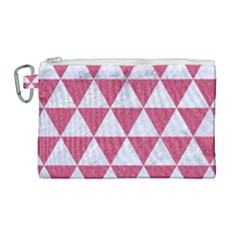 Triangle3 White Marble & Pink Denim Canvas Cosmetic Bag (large) by trendistuff