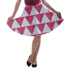 Triangle2 White Marble & Pink Denim A Line Skater Skirt by trendistuff
