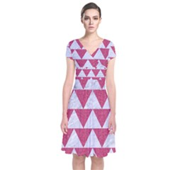 Triangle2 White Marble & Pink Denim Short Sleeve Front Wrap Dress by trendistuff