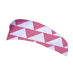 Triangle2 White Marble & Pink Denim Stretchable Headband by trendistuff
