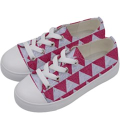Triangle2 White Marble & Pink Denim Kids  Low Top Canvas Sneakers by trendistuff
