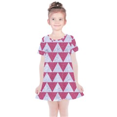 Triangle2 White Marble & Pink Denim Kids  Simple Cotton Dress