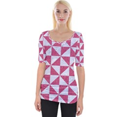 Triangle1 White Marble & Pink Denim Wide Neckline Tee by trendistuff