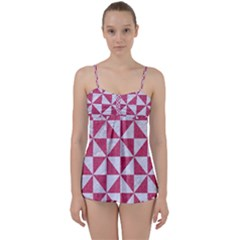 Triangle1 White Marble & Pink Denim Babydoll Tankini Set by trendistuff