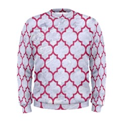 Tile1 White Marble & Pink Denim (r) Men s Sweatshirt by trendistuff