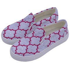 Tile1 White Marble & Pink Denim (r) Kids  Canvas Slip Ons by trendistuff