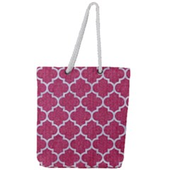 Tile1 White Marble & Pink Denim Full Print Rope Handle Tote (large) by trendistuff