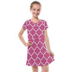 Tile1 White Marble & Pink Denim Kids  Cross Web Dress