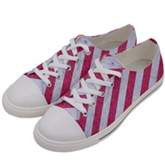 Stripes3 White Marble & Pink Denim (r) Women s Low Top Canvas Sneakers by trendistuff