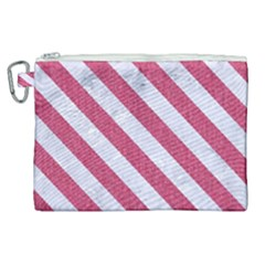 Stripes3 White Marble & Pink Denim Canvas Cosmetic Bag (xl) by trendistuff
