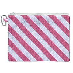 Stripes3 White Marble & Pink Denim Canvas Cosmetic Bag (xxl) by trendistuff