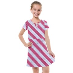 Stripes3 White Marble & Pink Denim Kids  Cross Web Dress