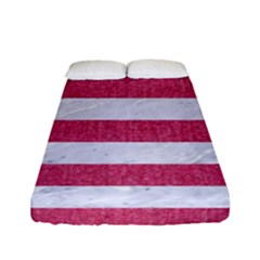 Stripes2white Marble & Pink Denim Fitted Sheet (full/ Double Size) by trendistuff