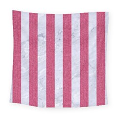 Stripes1 White Marble & Pink Denim Square Tapestry (large) by trendistuff