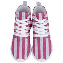 Stripes1 White Marble & Pink Denim Women s Lightweight High Top Sneakers