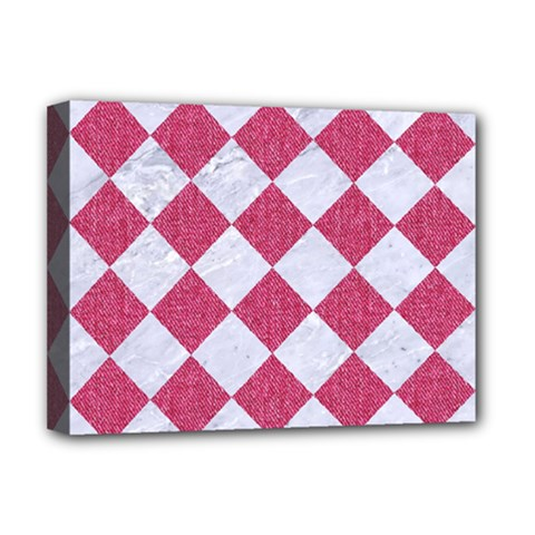 Square2 White Marble & Pink Denim Deluxe Canvas 16  X 12   by trendistuff