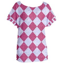 Square2 White Marble & Pink Denim Women s Oversized Tee