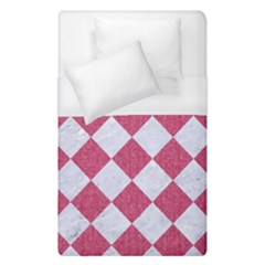 Square2 White Marble & Pink Denim Duvet Cover (single Size) by trendistuff
