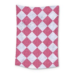 Square2 White Marble & Pink Denim Small Tapestry