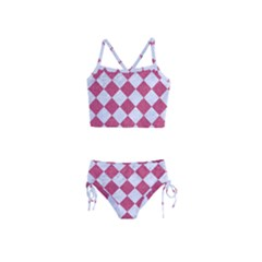 Square2 White Marble & Pink Denim Girls  Tankini Swimsuit by trendistuff