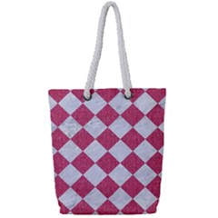 Square2 White Marble & Pink Denim Full Print Rope Handle Tote (small) by trendistuff