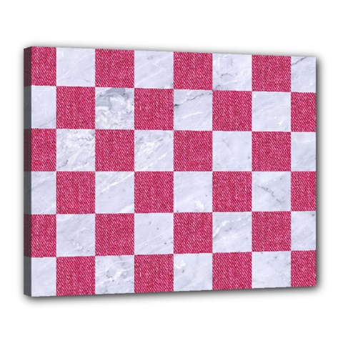 Square1 White Marble & Pink Denim Canvas 20  X 16  by trendistuff