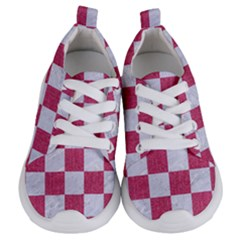 Square1 White Marble & Pink Denim Kids  Lightweight Sports Shoes