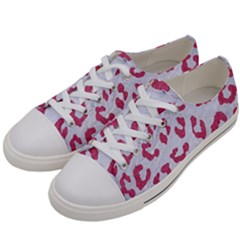 Skin5 White Marble & Pink Denim Women s Low Top Canvas Sneakers by trendistuff