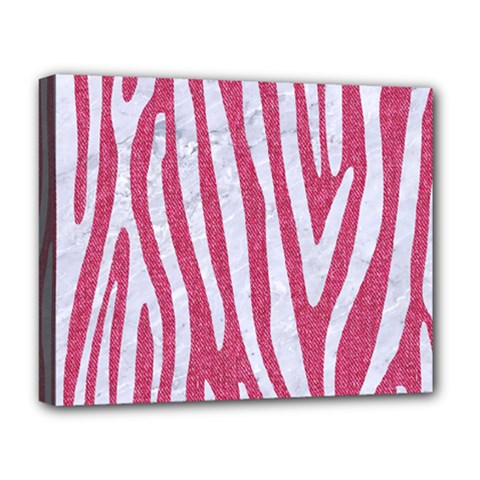 Skin4 White Marble & Pink Denim (r) Deluxe Canvas 20  X 16