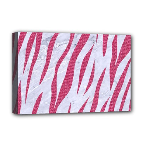 SKIN3 WHITE MARBLE & PINK DENIM (R) Deluxe Canvas 18  x 12