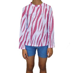 Skin3 White Marble & Pink Denim (r) Kids  Long Sleeve Swimwear